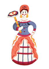 Векторная иллюстрация русский национальный сувенир барыня. Ручная работа гуашью на белом фоне. Дымковская игрушка, русский национальный фольклер