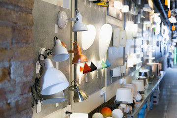 Picture of  lamp with lights in the  designer furniture store