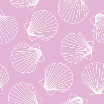 white seashells on pink background sea ocean shell pattern seamless vector