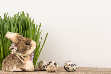 Easter postcard with rabbit and quail eggs
