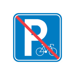 Vector illustration. No Parking area for bicycle sign icon. No Parking road sign, Forbidden parking for bicycle