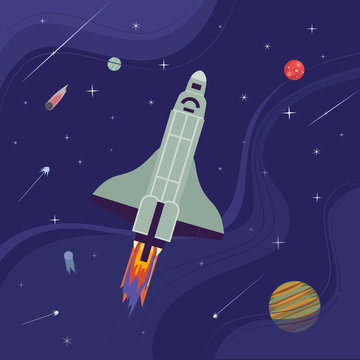 Rocket flight icon. Colorful cartoon style. Shuttle launch. Spaceship start up to outerspace cosmos. Cosmic travel in universe. Mars planet. Stars, comet, metheorite background. Vector illustration
