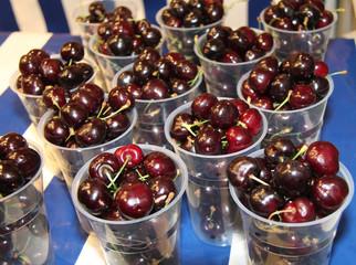 A Display of Freshly Picked Fruit Cherries for Sale.