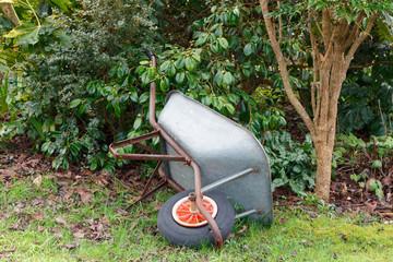 Brouette renversée dans un jardin