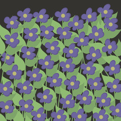small purple blue flowers with light green leaves on a dark green background