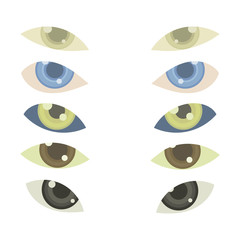 5 vector pairs of eyes with multicolored irises or lenses isolated on white background