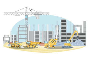 Under construction zone with construction trucks over white background, colorful design vector illustration
