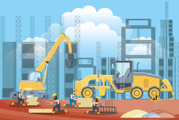 Under construction zone with builders working and construction trucks, colorful design vector illustration
