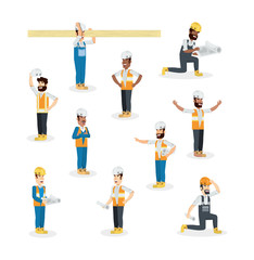 Icon set of construction builders over white background, colorful design vector illustration