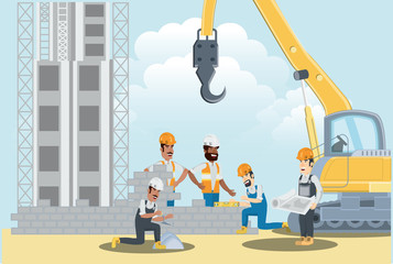 Under construction zone with builders and enginners working on bricks wall, colorful design vector illustration