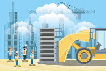 Under construction zone with builders and forklift truck, colorful design vector illustration