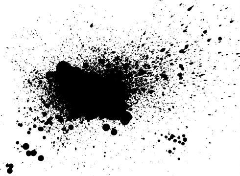 Black paint, ink splash, brushes ink droplets, blots. Black ink splatter grunge  background, isolated on white. Vector illustration