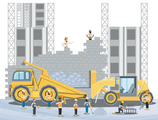 Under construction zone with builders and engineers and construction trucks over white background, colorful design vector illustration