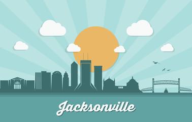Fototapete - Jacksonville skyline, Florida