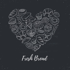 Heart shape composition from hand drawn bread in sketch style. Vector illustration for bakery shops on chalkboard. Fresh bread poster concept.