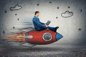 businessman's rocket speed