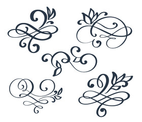 Vintage set hand drawn flourish separator Calligraphy elements symbol linked, join, passion and wedding. Template for t shirt, card, poster. Design flat element of valentine day. Vector illustration