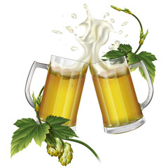 Two mugs with beer and hops
