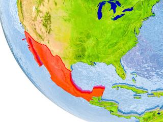 Mexico on globe