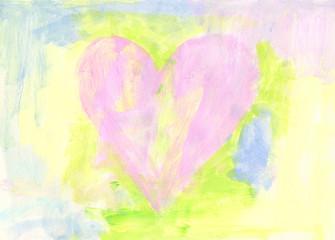 Pastellfarbenes Herz Acrylgemälde