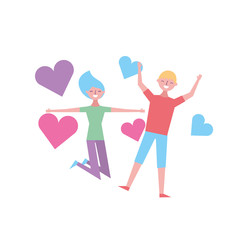 couple of young people in love heart romantic vector illustration