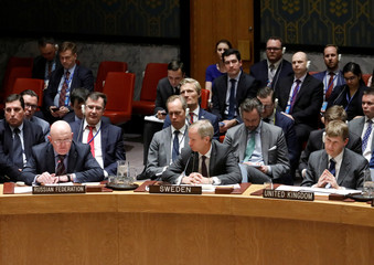 Russian Ambassador to the United Nations Vassily Nebenzia speaks during an urgent meeting called by Great Britain to the United Nations Security Council to brief members on former spy poisoning at U.N. headquarters in New York