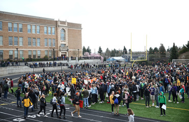 Students gather at Roosevelt High School in the National School Walkout to protest gun violence in Seattle