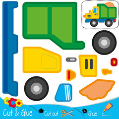 Truck. Large car with a load. Education paper game for preshool children. Vector illustration.