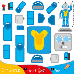 Mechanical blue robot with a raised hand. Education paper game for preshool children. Vector illustration.