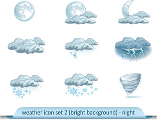 Vector weather forecast icons with light background. Night