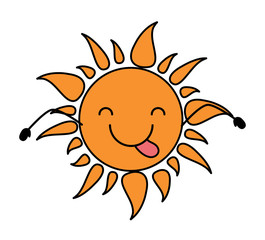 kawaii sun showing the tongue over white background, colorful design.  vector illustration