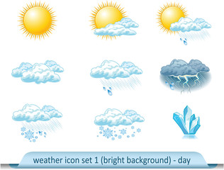 Vector weather forecast icons with light background. Day