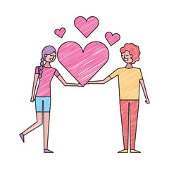 couple of young people in love heart romantic vector illustration drawing color design