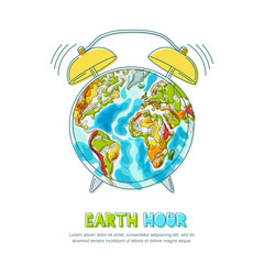 Vector doodle hand drawn isolated illustration of green Earth planet and alarm clock. Earth hour poster. Environmental, ecology, nature protection concept.
