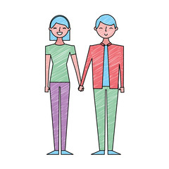 couple of young people characters vector illustration drawing color design