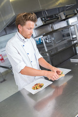 male chef presenting food on the plate