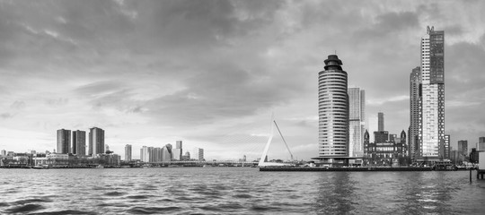 Spoed Fotobehang Rotterdam City Landscape, black-and-white panorama - view on Erasmus Bridge and district Feijenoord city of Rotterdam, The Netherlands.