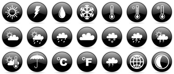 Weather forecast climate meteorology glossy vector icons
