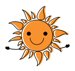 kawaii excited sun icon over white background, colorful design. vector illustration