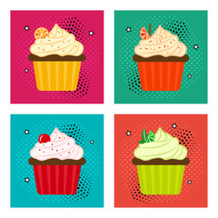 Sweet dessert. Set of fruit cupcake icons in pop art style. Vector illustration