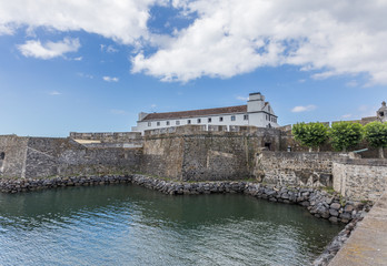 Ancient monument ( Forte de Sao Braz ) in Ponta Delgada, Azores Portugal