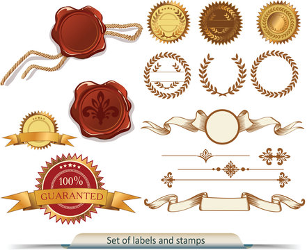 Set of vector labels and stamps
