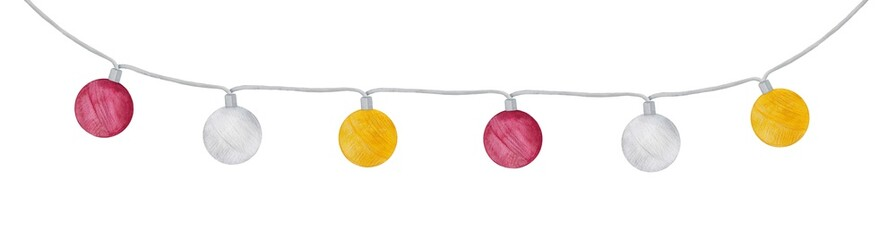 Light garland with different colors textile balls. Hand painted water colour graphic drawing on white, cut out. Party, festival decoration, romantic celebration, outdoor patio lighting idea.