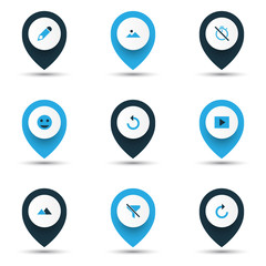 Image icons colored set with chronometer, tag face, refresh right and other no filter  elements. Isolated vector illustration image icons.
