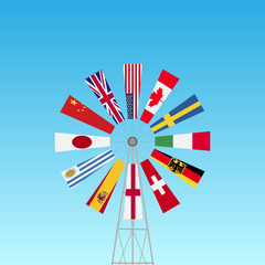 Windmill Flags Illustration