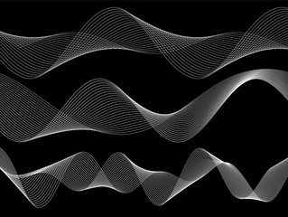 design element wavy lines tape on black background02