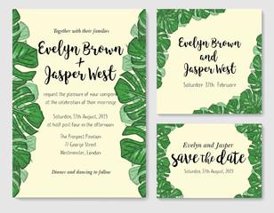 Wedding invite, invitation rsvp thank you card vector floral greenery design: beautiful leaves of tropical evergreen liana monstera, foliage herbs elegant frame border