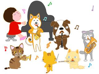 犬と猫のコンサート。子供とペットが歌ったり、楽器を演奏している。