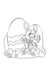 Happy easter bunny giving egg