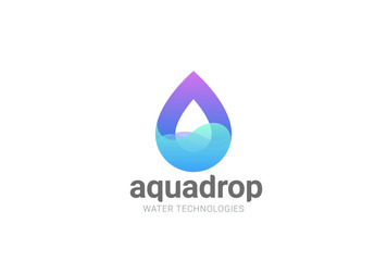 Wall Mural - Water droplet Logo vector. Aqua Cosmetics SPA. Drop wave icon